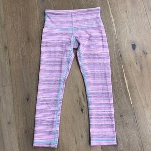 Lululemon pink mint wunder under crop pants 4.